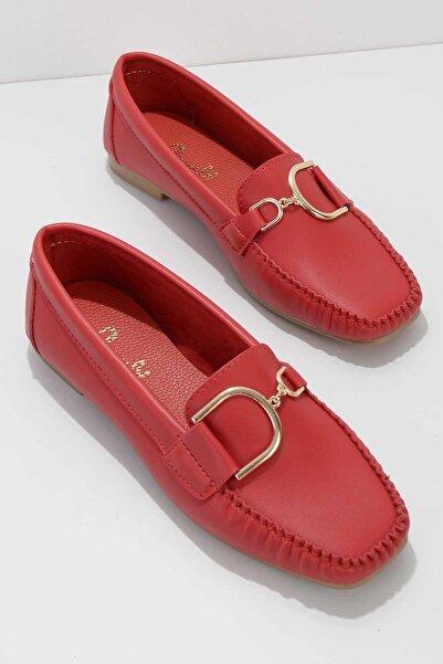 Bambi Kırmızı Kadın Loafer Ayakkabı K01542030509