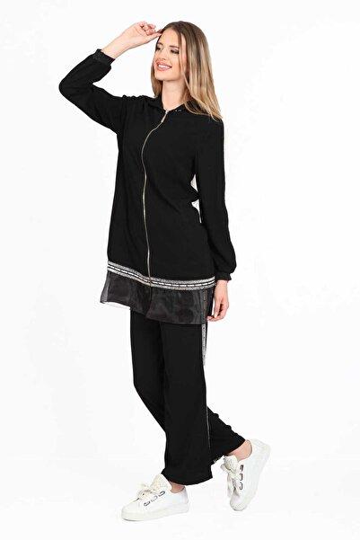 Orhan Krep Şeritli Uzun Ceket Pantolonlu Takım