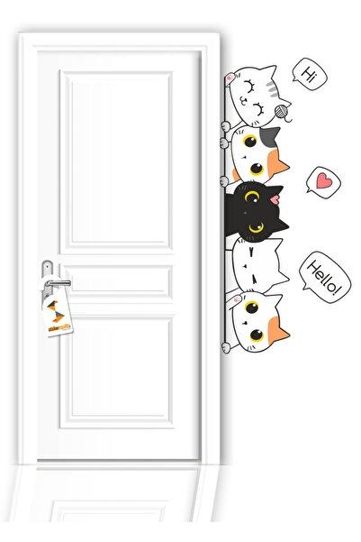 Sticker Sepetim Çocuk Odası Kapı Kenarı Sticker Sevimli Kediler