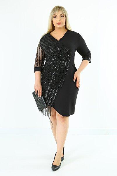 1fazlası Kadın Siyah Büyük Beden Pul Garnili Elbise