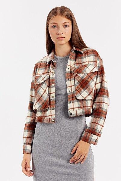 Manche Tarçın Kadın Crop Cepli Ceket | Mk21w353138