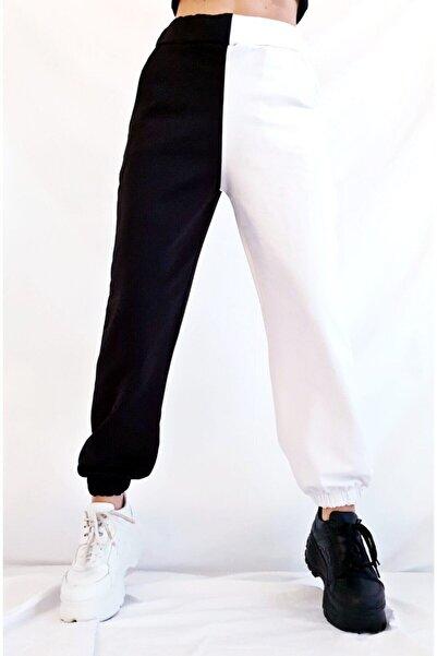 K&H TWENTY-ONE Kadın Siyah Beyaz Jogger Eşofman Altı