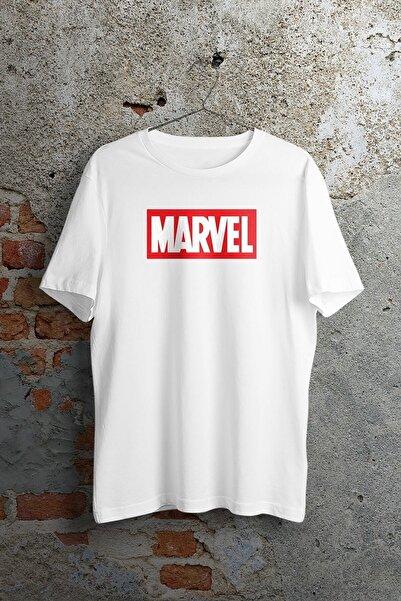 twentyone Unisex Beyaz Marvel Logo Baskılı T-shirt