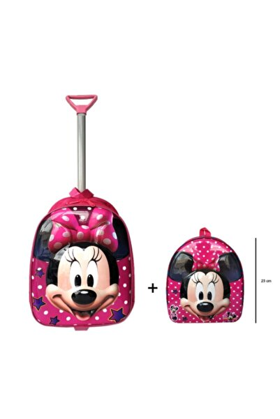 ROXY DESİNG Anaokulu Çanta Seti Çekçekli Çanta - Mini Sırt Çantası Minnie Mouse Minnie Set