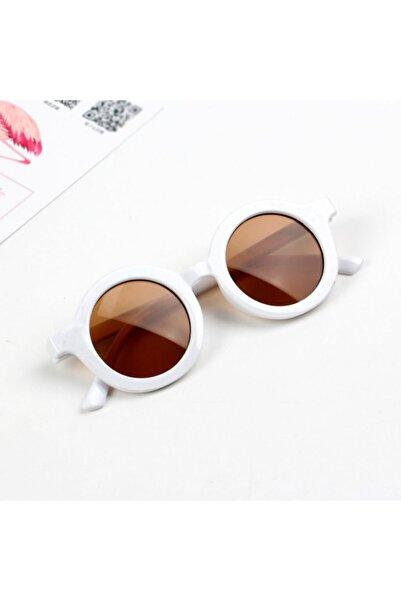 CAROTA Çocuk Güneş Gözlüğü Retro Parlak Beyaz Kahverengi Cam