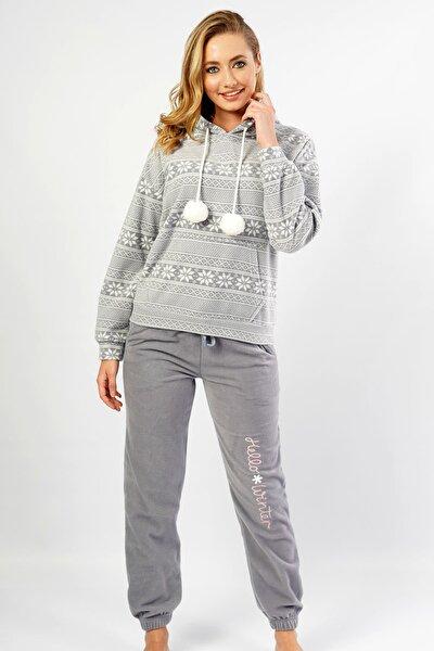 VİENETTA Loft Polar Kapsonlu Düşük Omuzlu Uzun Kol Kanguru Ceplı Pijama Takım