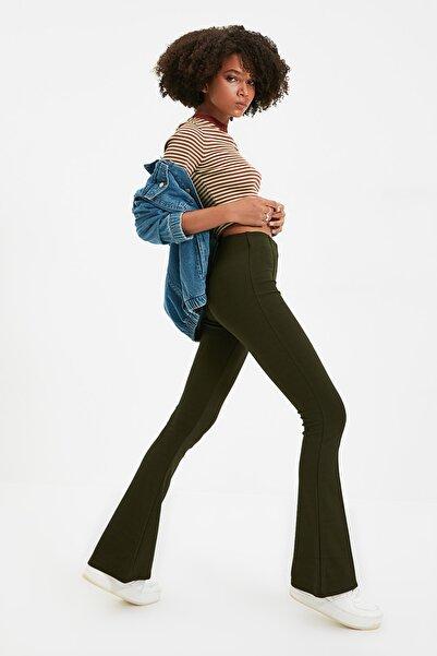TRENDYOLMİLLA Haki Flare Örme Pantolon TWOSS20PL0342