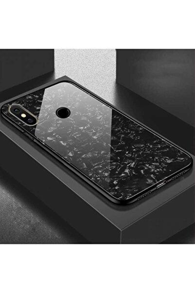 Xiaomi Rotaks Mi A2 Lite Kılıf Tempered Glass Mermer Desenli Marbel Cam