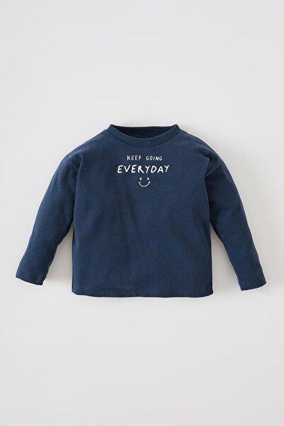 DeFacto Erkek Bebek Yazı Baskılı Uzun Kollu Tişört V9535A221AUN