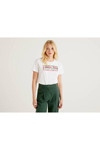 United Colors of Benetton Kadın Beyaz Logolu Tshirt