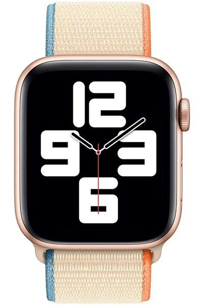 Apple Kordon/kayış 42/44mm Watch Seri 2/3/4/5/6/se Uyumlu Hasır Kordon Cream