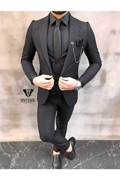 carismen Slim Fit Siyah Takım Elbise