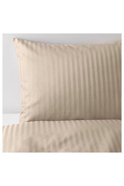 IKEA Çift Kişilik Nevresim Takımı, Açık Bej Renk-çizgili Meridyendukkan 240x220/50x60 Cm-pamuk-çarşafsız