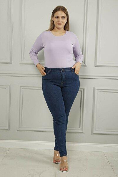 Ramrod Kadın Koyu Mavi Büyük Beden Yüksek Bel Tırnaklı Toparlayıcı Jeans