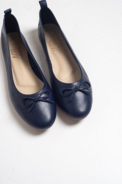 LuviShoes 01 Lacivert Cilt Kadın Babet