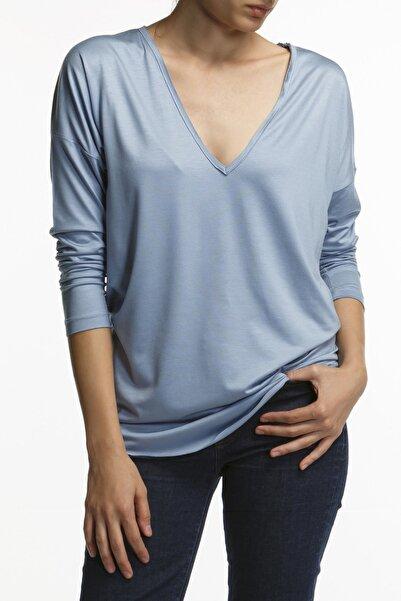 BASIC&CO Vogue-ls V Yaka Bebek Mavisi Bluz