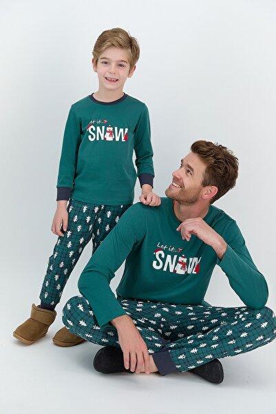 ROLY POLY Erkek Uzun Kol Snow Baskılı Pijama Takımı
