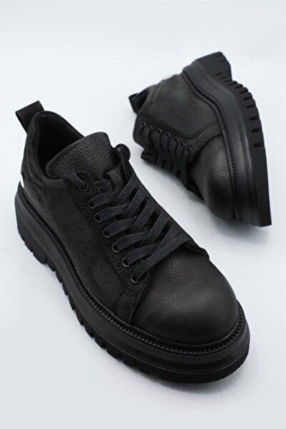 Mammamia Deri Ortopedik Siyah Nubuk Kadın Ayakkabı 3025