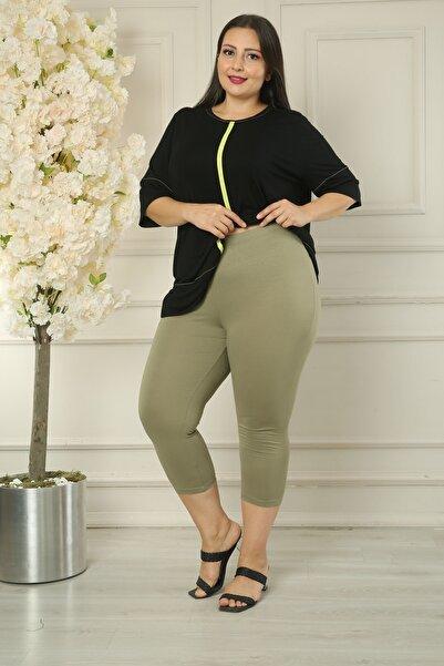 XL Modam Kadın Büyük Beden Yüksek Bel Likralı Yeşil Tayt