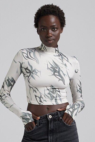 Bershka Sırtı Dekolte Detaylı Uzun Kollu T-shirt