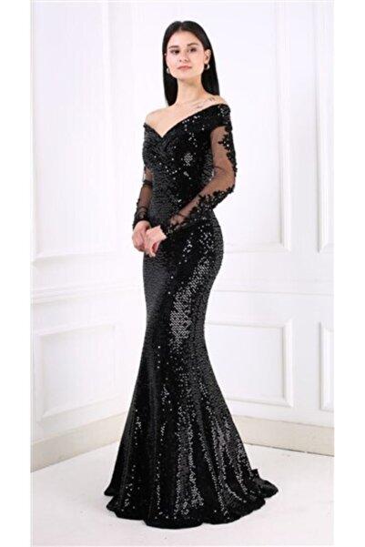 Abiyeniall Uzun Abiye Elbise Siyah
