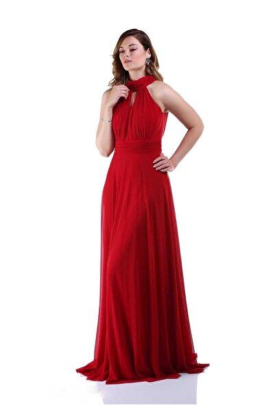 Abiyeniall Uzun Abiye Elbise Kırmızı