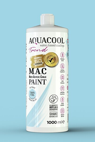 Aquacool Trend M.a.c Su Bazlı Akrilik Hobi Boyası 702 Su Mavi 1000 Ml