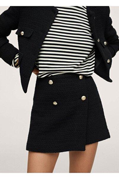 MANGO Woman Kadın Siyah Düğmeli Tüvit Mini Etek