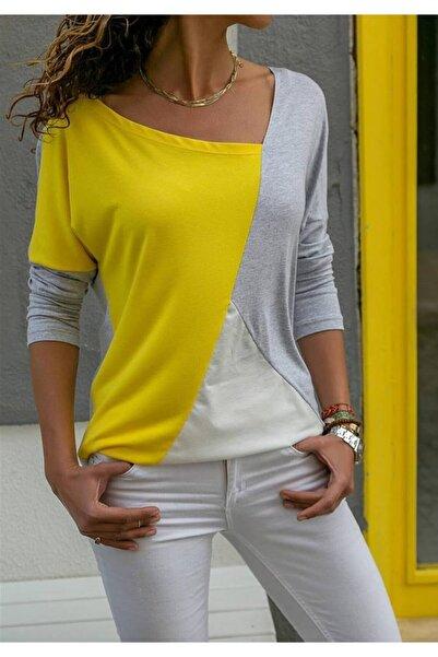 ELBİSENN Yeni Model Kadın Asimetrik Yaka Bloklu Bluz