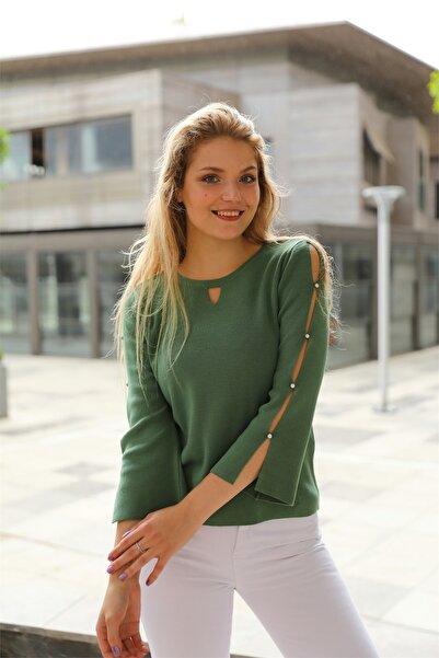 SİZ Kadın Damla Yaka Kolları Yırtmaçlı Incili Kışlık Bluz
