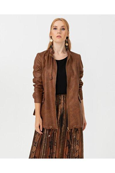 SEÇİL Kadın  Dik Yakalı Suni Deri Ceket - Taba