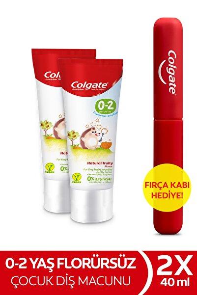 Colgate 0-2 Yaş Doğal Meyve Tadında Florürsüz Çocuk Diş Macunu 40 ml X 2 Adet + Fırça Kabı