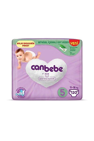 Canbebe Bebek Bezi 5 Beden Junior Aylık Ekonomik Paket 120 Adet