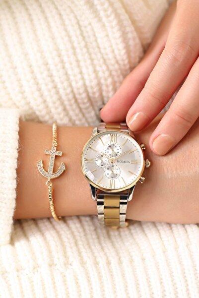 Homies Gold Gümüş Renk Kadın Kol Saati + Bileklik