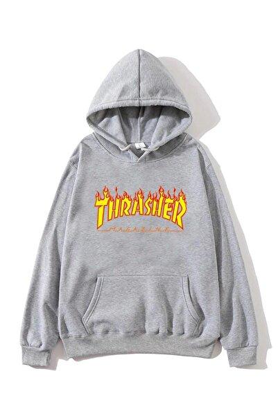 Oksit Thrasher Baskılı Oversize Unisex Sweatshirt