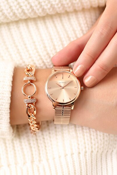 Homies Rose Renk Kadın Kol Saati  Bileklik