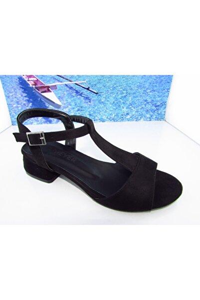 Karmen Kadın Siyah Kısa Topuk Süet Sandalet