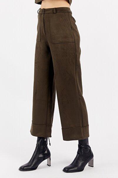 Manche Haki Kadın Süet Pantolon