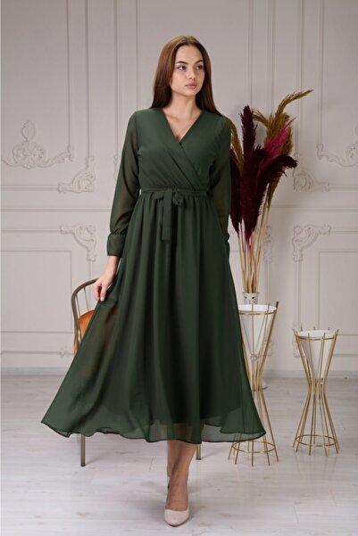 Liny Life Haki Şifon Elbise