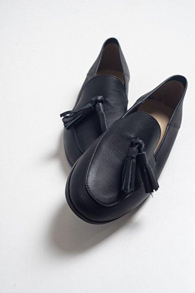 LuviShoes F04 Siyah Cilt Deri Ayakkabı