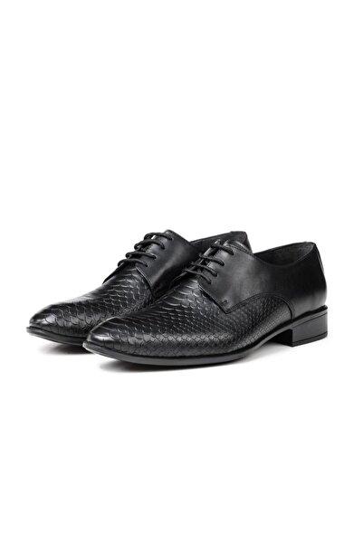 Ducavelli Croco Hakiki Deri Erkek Klasik Ayakkabı Siyah