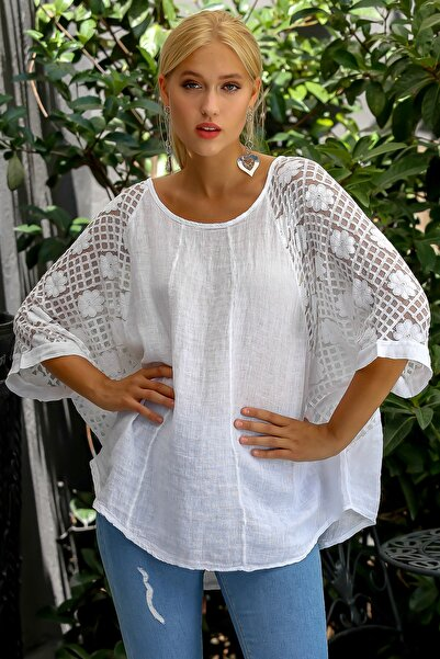 Chiccy Kadın Beyaz İtalyan Dantel Yarasa Kol Dokuma Bluz M10010200BL94920