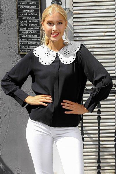 Chiccy Kadın Siyah Vintage Fisto Bebe Yakalı Süs Patlı Manşeti Düğmeli Kol Dokuma Bluz M10010200BL94903