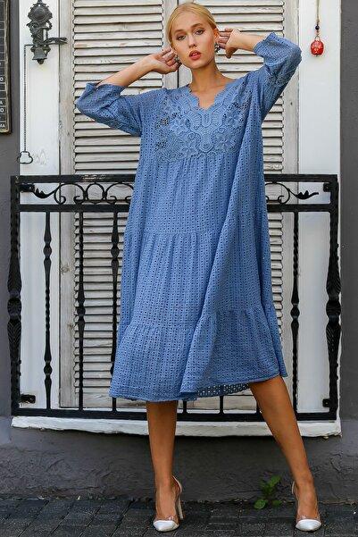 Chiccy Kadın Mavi İtalyan Dantel Yakalı Kafes Desen Dantel Astarlı Elbise M10160000EL94224