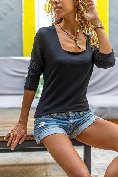 Güneşkızı Kadın Siyah Kare Yaka Yumuşak Dokulu Bluz GK-BST3166