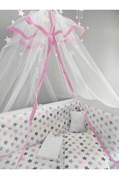 serkan avm Pembe Yıldızlı Bebek Beşik Uyku Seti 60x120 Pamuk 9 Parça Cibinlik Ve Aparat Hediye