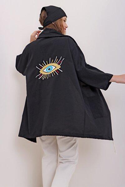 Trend Alaçatı Stili Kadın Siyah Sırtı Nakış İşlemeli Oversize Keten Ceket ALC-X7083