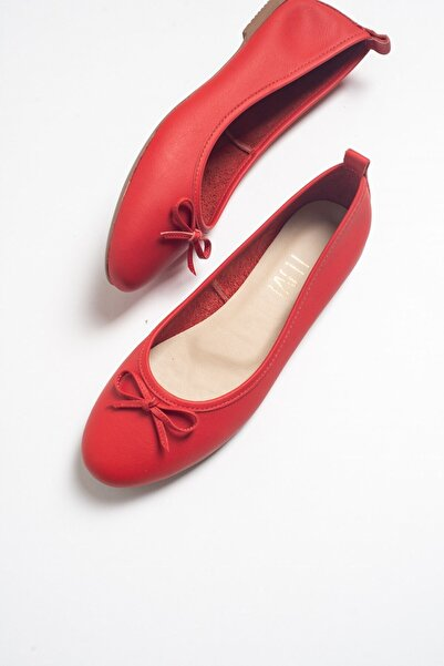 LuviShoes 01 Kırmızı Cılt Kadın Babet Ayakkabı