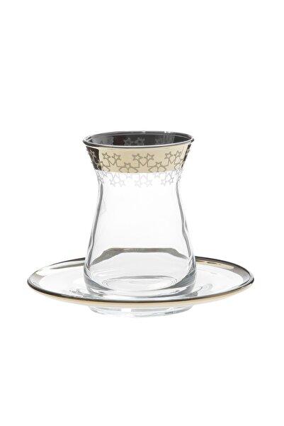 Paşabahçe West Glass Gold Kaplama Çay Seti 12 Parça 6 Kişilik Irem Serisi Star Model