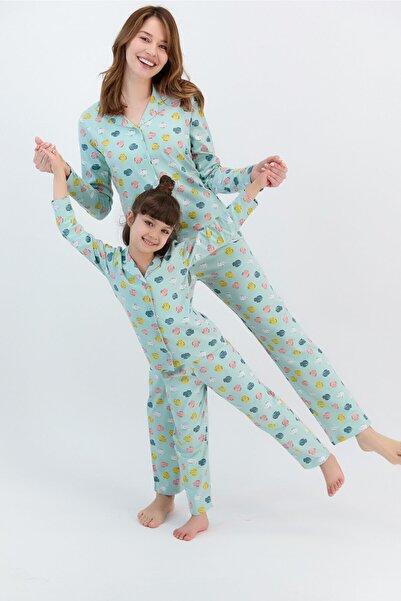 ROLY POLY Kadın Uzun Kol Baskılı Gömlek Pijama Takımı (anne Kız Takım Yapılabilir Fiyatlar Farklıdır